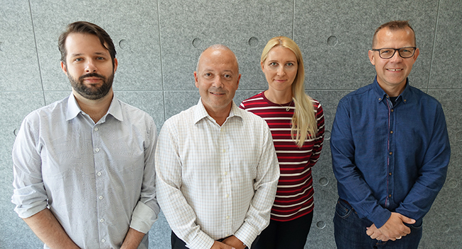 The Finance Research Group. From the left: Douglas Turatti, Cesario Mateus, Irina Mateus and Lasse Bork